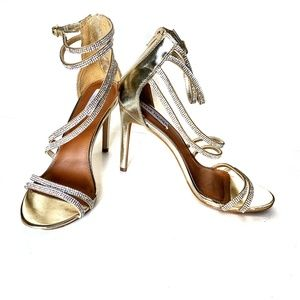 Steve Madden Fiffi Golden Heels w/Rhinestones Sz9